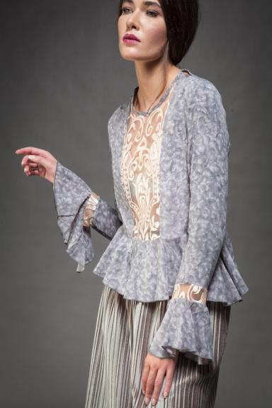 Swan Embroidered Grey Blouse