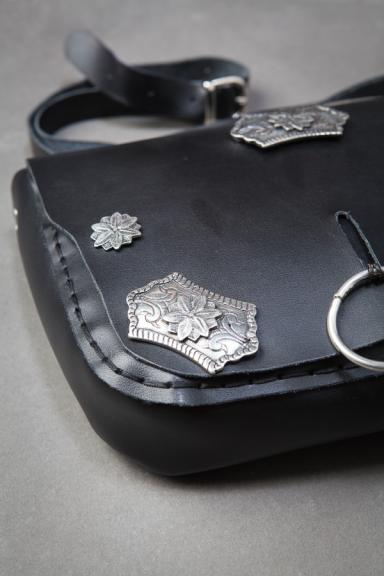 Black Crown Embellished Messenger Bag
